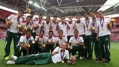 Gold medal winners Mexico pose with their medals after theVictory Ceremonyfor the Men's Football Final between Brazil and Mexico.