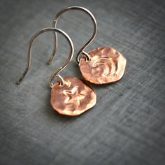 Textured Copper and Sterling Silver Disk Moon Star Dangle