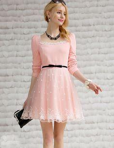 Morpheus Boutique  - Pink Floral Lace Long Sleeve Designer Dress, CA$82.04 (http://www.morpheusboutique.com/pink-floral-lace-long-sleeve-designer-dress/)