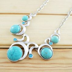 Tibetan Style Silver and Turquoise Exotic Necklace