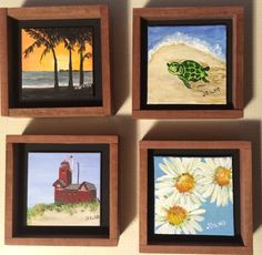 Items similar to Key West Sunset, Turtle, Big Red, Daisies - four individual framed paintings for sale on Etsy Acrylic Painting Canvas, Painting Frames, Key West Sunset, Paintings For Sale, Daisies, Original Artwork, Turtle, Art Ideas, Big