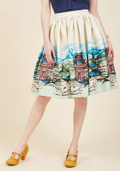 <p>Your outfit visions guide you to your most creative looks yet - so queue up this ivory skirt in your daydreams and see where it leads! It's a pleasure to pair your favorite pieces with the gathered waist and painterly landscape print of this pocketed midi, as it demonstrates the depth of your unique perspective.</p>