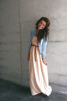 Maxi dress and jean jacket <3