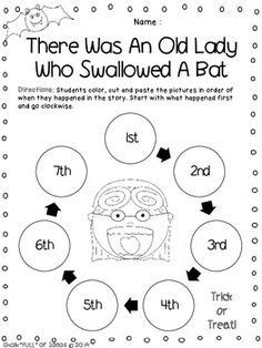 """Here is a FREE sequencing activity designed for use in the K-2 classroom setting. It goes along with the book """"There Was an Old Lady Who Swallowed a Bat"""" by Lucille Colandro. Students will retell the story in order by coloring, cutting, and pasting the sequence circles into the correct ordinal position. Students will start with the first event in the 1st circle, and continue clockwise to the 7th (last) event."""