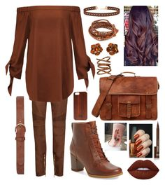 """""""One Color: Chestnut Brown"""" by thekatyer ❤ liked on Polyvore featuring Balmain, TIBI, Timberland, Dorothy Perkins, Miss Selfridge, TWO-O, Chan Luu, Yves Saint Laurent, Sidney Chung and Lime Crime"""