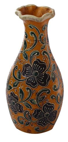 """Bulk Wholesale Handmade 11"""" Orange & Black Flower Vase in Terracotta Decorated with Traditional-Look Motifs in Cone-Painting Art – Ethnic Look Vases from India – Home / Garden Décor"""