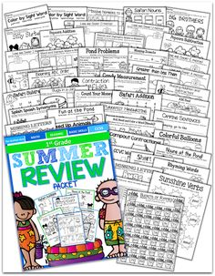 Summer Review Packet for 1st Grade!  This packet has EVERYTHING!  NO PREP needed...just PRINT and GO!!