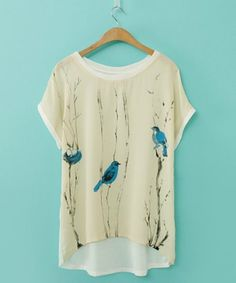 Elegant Scoop Neck Printed Loose-Fitting Short Sleeve Chiffon T-Shirt For Women - $8 in Rosegal