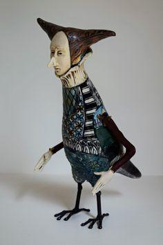 R & J Gumaelius, Man Bird in Flowered Shirt || Ceramic & metal sculpture || 9 x 5 x 7 |