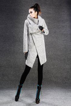 Modern Wool Gray Coat with Asymmetrical Front Zipper von YL1dress