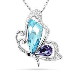 SIVERY Mothers Day Gifts Butterfly Necklaces for Women 'Butterfly Kiss' Jewelry Woman Necklace Pendant with Blue Purple Swarovski Crystal, Jewelry for Women, Gifts for Mom Heart Pendant Necklace, Pendant Jewelry, Jewelry Necklaces, Jewellery, Necklace Chain, Butterfly Necklace, Butterfly Pendant, Blue Butterfly, Fashion Necklace