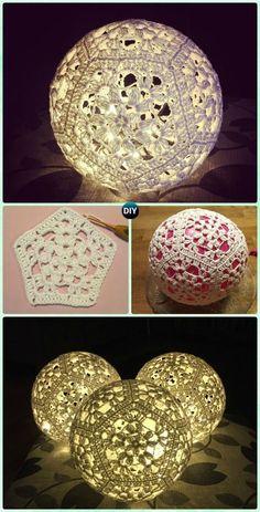 Crochet Light Ball Lamp Shade Free Pattern – Crochet Lamp Shade Free Patterns … – Knitting And Crochet Crochet Ball, Thread Crochet, Crochet Motif, Crochet Doilies, Knit Crochet, Crochet Patterns, Crochet Coaster, Doily Patterns, Dress Patterns