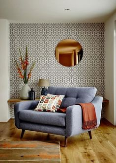 Round Copper Wall Mirror and Wallpaper Combination Modern Living Room. Round Copper Wall Mirror and Wallpaper Combination Modern Living Room. Mid Century Modern Living Room, Mid Century Modern Design, Living Room Modern, Home Living Room, Living Room Designs, Living Spaces, Modern Living Room Wallpaper, Small Living, Living Area