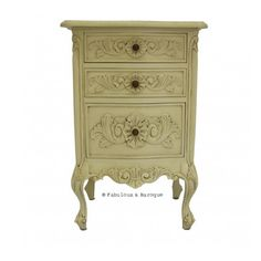 LUV this! Rosetta French 3 Drawer Side Table - Ivory  from Fabulous & Baroque  $495