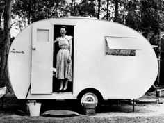 "vintage camping photos - ""Mrs Dudley Courtman in her Chesney caravan, reads the caption for this photo from the State Library of Queensland. Retro Caravan, Retro Campers, Camper Trailers, Happy Campers, Vintage Campers, Retro Trailers, Tiny Trailers, Vintage Rv, Vintage Caravans"