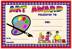Art Award:  You can find this printable award (and many other awards and certificates for elementary school teachers) on Unique Teaching Resources.