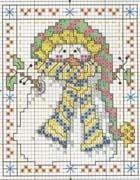 Free Snowman Cross Stitch Designs | Schema punto croce Cartolina 44