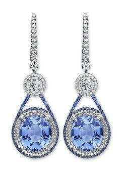 18k white gold Martin Katz Sapphire and Diamond Earrings....x