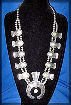 Tommy Singer Sterling Silver Green Turquoise Squash Blossom necklace. The beads…