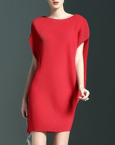Red Casual Boat Neck Dolman Sleeve Mini Dress I found this beautiful item on VIPme.com.Check it out!CYANINE SEA
