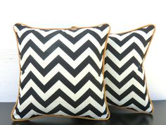 Cream and black outdoor pillow cover 16x16  chevron outdoor cushion outside deck chair pillow entryway bench cushion black chevron pillow