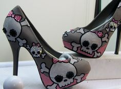 LOVE! Kustom. SKELETON WITH BOWZ   Kickz .... All made to order kustom kickz sizes 5.5 -10 via Etsy