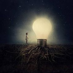 art, creative, lightbulb, night