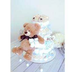 Teddy Bear Diaper Cake with Soft Toy / Baby BOY Shower Centerpiece nursery decoration / Classic Cute unique gifts Favors / Blue Brown Ivory by AngAngBabyUS on Etsy Baby Boy Signs, Baby Room Themes, Bear Theme, Shower Centerpieces, Baby Boy Shower, Blue Brown, Baby Toys, Nursery Decor, Unique Gifts