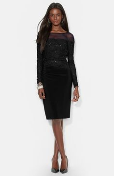Lauren Ralph Lauren Illusion Yoke Embellished Lace & Jersey Evening Dress available at #Nordstrom