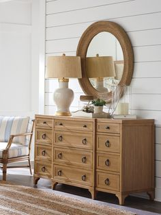 Barclay Butera Newport 12 Drawer Dresser with Mirror 12 Drawer Dresser, Dresser With Mirror, Dresser As Nightstand, Dressers, Double Dresser, Wall Mounted Mirror, Round Wall Mirror, Hooker Furniture, Bedroom Furniture