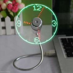 USB Mini Flexible Time LED Clock Fan with LED Light Cool Gadget Flexible Usb Clock Fan Gadgets Cool Usb Fan Clock Usb Hot //Price: $US $6.69 & FREE Shipping //     #kitchenappliances