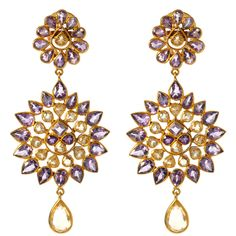 14k gold earring with amethyst and citrine by Amrita Singh. | via amritasingh.com