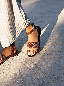Free People Torrence Flat Sandals Embroidered Brownnew With Tag And Boxsize: Beautiful Wrap Boho Sandals Are The Perfect Addition To Any Outfit. These Great Sandals Wrap Around The Ankle And Buckle. They Have Leather Straps With Colorful Embroidery. Brown Leather Sandals, Brown Sandals, Flat Sandals, Free People Clothing, Beautiful Sandals, Fringe Sandals, Trendy Accessories, Summer Shoes, Summer Sandals