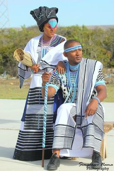 Xhosa Bride and Groom in traditional Xhosa umbhaco