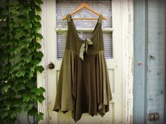 M-L Olive Green Upcycled Babydoll Dress// Army Green by emmevielle