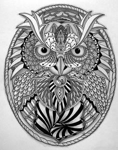 Zentangles and zendoodles owl