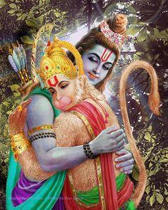 A fine art print of Rama greeting Hanuman