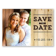 Rustic Typography - Save the Date Postcard