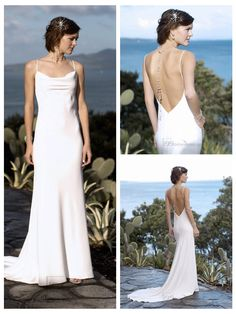 Sexy Formal Spaghetti Straps Square Neckline Deep Backless Wedding Dresses
