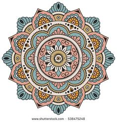 Color Circular pattern in form of mandala. Decorative ornament in ethnic oriental style. Mandala Doodle, Mandala Dots, Mandala Drawing, Crochet Mandala, Flower Mandala, Mandala Pattern, Mandala Design, Dot Painting, Fabric Painting