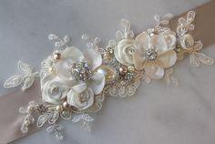 Champagne and Ivory Sash, Bridal Sash, Wedding Belt, Rhinestone and Pearl Flower Sash with Lace - GEORGETTE. $158.00, via Etsy.