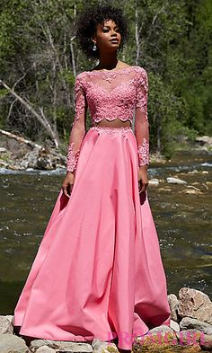 Long Sleeve Two Piece A-Line Prom Dress at PromGirl.com