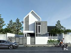 Minimal House Design, Modern Small House Design, Modern Minimalist House, Home Building Design, Building A House, Modern House Facades, Modern Houses, One Storey House, Townhouse Designs