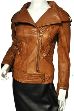 RIDER' Ladies TAN WASHED Biker Motorcycle Style Soft Real Nappa ...