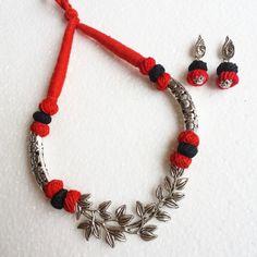 Trendy Oxidised Jewellery set Red and Black cotton beads Silver Jewellery Online, Silver Jewellery Indian, Bead Jewellery, Tassel Jewelry, Fashion Jewellery, Silver Jewelry, Jewelry Necklaces, Handmade Wire Jewelry, Handmade Jewelry Designs