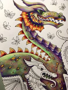 My first dragon of ***Ivy and the Inky Butterfly*** from Johanna Basford