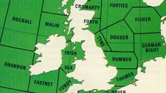 British shipping weather forecast areas  From 'Seaway Code – a guide for small boat users'. Prepared by the Department of Trade and the Central Office of Information, 1976.