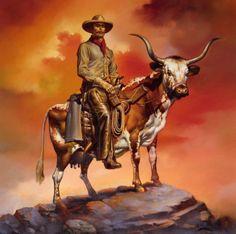 Ковбой с лассо и оружием верхом на рогатой корове