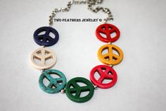 Peace Sign Necklace  Peace Necklace  by TwoFeathersJewelry on Etsy, $24.95  #peacesigns #necklace #red #yellow #hotpink #green #turquoise #white #navy #hippie #jewelry #rainbow