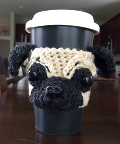 Crochet Cup Cozy, Knit Crochet, Coffee Cozy Pattern, Cool Coasters, Dog Lover Gifts, Dog Lovers, Pug Mug, Dog Coffee, Coffee Sleeve